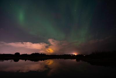 Auroras over lake