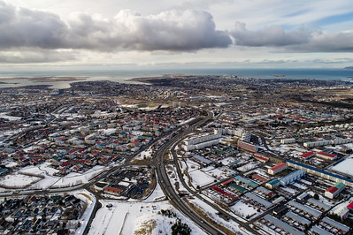 Aerial view of Reykjavik city in winter