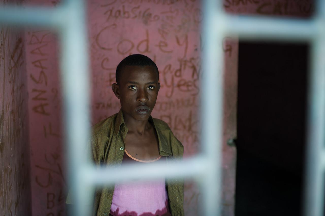 A prisoner accused of  murder at the Central prison of Mogadishu. Hodan District, Somalia.