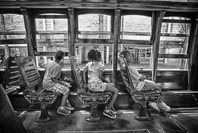 Siblings on the trolley