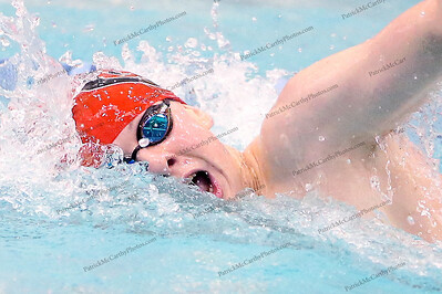 Garden City's Ryan Brown wins the boy's 500 yard freestyle in a time of 4:39.22