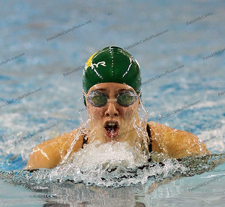 Ward Melville's Brittany Coughlin swims to second place in the girl's 100 yard breaststroke in a State Qualifying time of 1:07.53 at the Suffolk High School girls swimming individual championships/state qualifier.