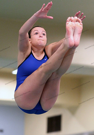 Bethpage's Jennifer Gunning in the diving competition during the Nassau High School girls swim meet between Bethpage and East Meadow.
