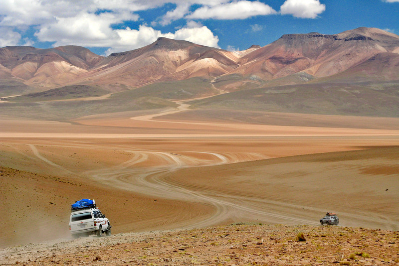 Land Cruisers crossing Bolivian Altiplano