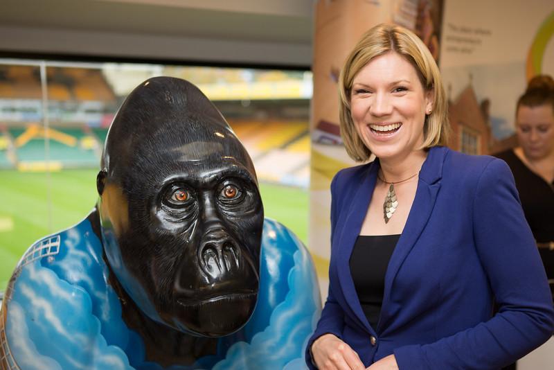 ITV Anglia presenter Emma Barker and Nelson the Gorilla.