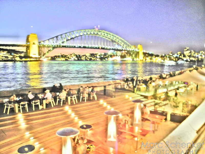 Harbor Bridge from Sydney Opera House at night