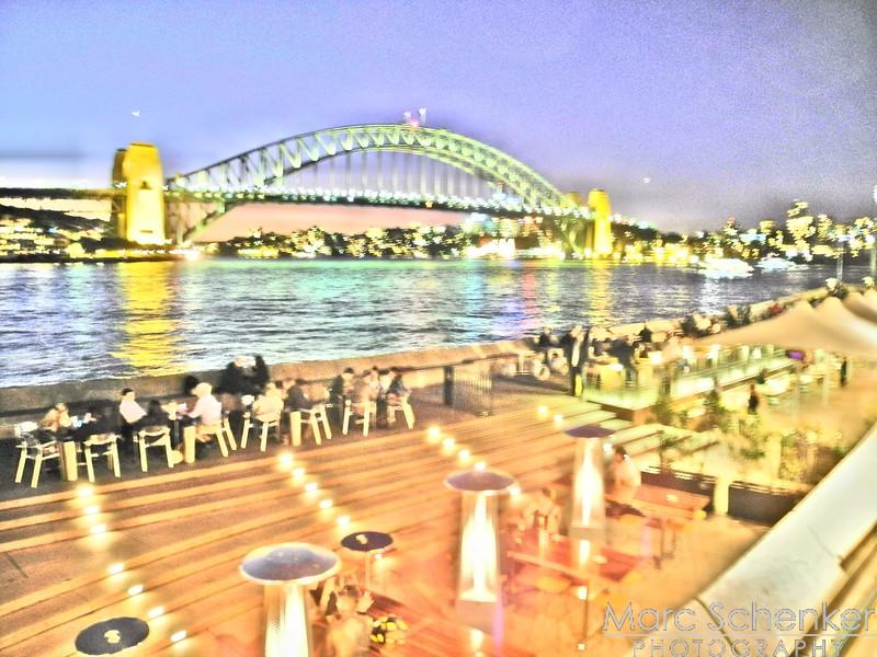Harbor Bridge from Sydney Opera House at night