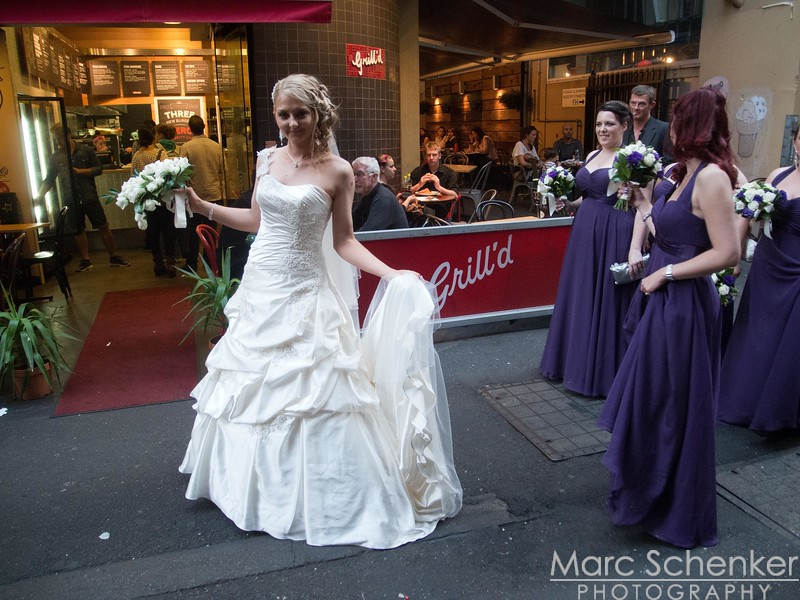 Bride and bridesmaids, Downtown Melbourne