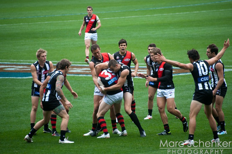 Collingwood vs. Essendon Australian rules football game, ANZAC Day, Melbourne Cricket Grounds, 2012