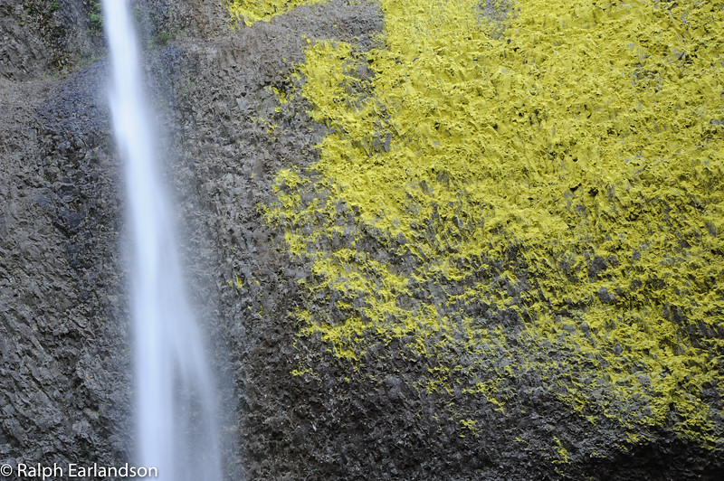 A close-up of a waterfall in the Columbia Gorge of Oregon.