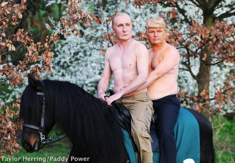 Presidents Vladimir Putin and Donald Trump arrived in London on horseback for Paddy Power, London, UK, 13th March 2017