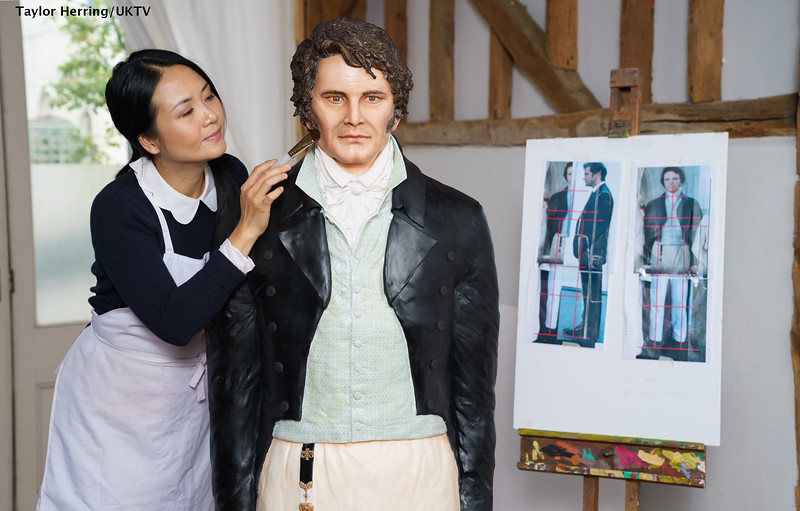 EDITORIAL USE ONLY.A life-sized cake of Mr Darcy, as played by Colin Firth in the TV mini-series of Pride and Prejudice, has been created by world-famous cake designer Michelle Wibowo in the 25thanniversary year of the iconic series to celebrate the launch of Jane Austen season on Drama, which airs on Sundays, 6th – 20th September.  Image credit: UKTV / Pinpep