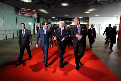 Boris Johnson and His Excellency Sheikh Sultan Bin Tahnoon Al Nahyan at the opening of the Excel east extension.