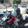 Cool biker chick entering Iran