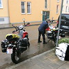 Hotel Manager in Ellwangen cleaning the snow off our bikes