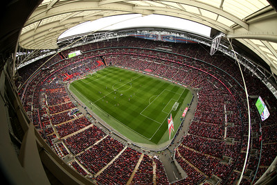A view from the lighting rig of the FA Cup Semi-Final match between Wigan Athletic and Arsenal at Wembley Stadium on April 12, 2014 in London, England.