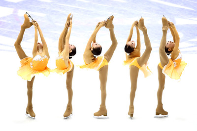 A multiple-exposure of Elizabet Tursynbaeva of Kazakhstan as she performs during the Women's Free Skating on Day 3 of the ISU World Junior Figure Skating Championships at Tondiraba Ice Arena on March 6, 2015 in Tallinn, Estonia.