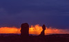 Stormy sunset and Balanced Rock, Arches NP June 2001