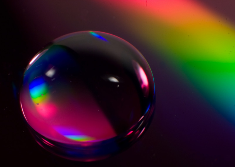 "<center><font style=""font-size:20px"">""<B>Rainbow Droplet</B>""</font><br/><br/> <font size=""smaller"">Macro still-life</font></center>"