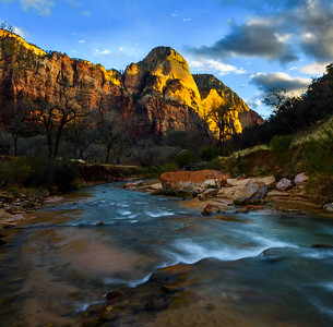 Utah - Zion Mountain In Sunlight