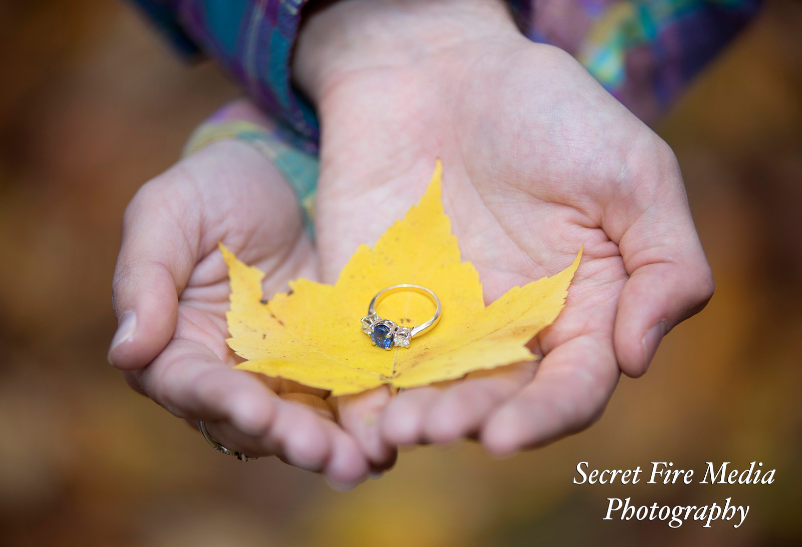 Bride and Groom hold their wedding rings on a yellow leaf at their Albany Enagement Shoot at Siena College