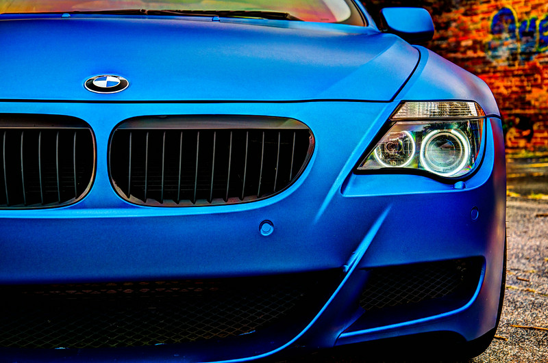 BMW with matte blue wrap