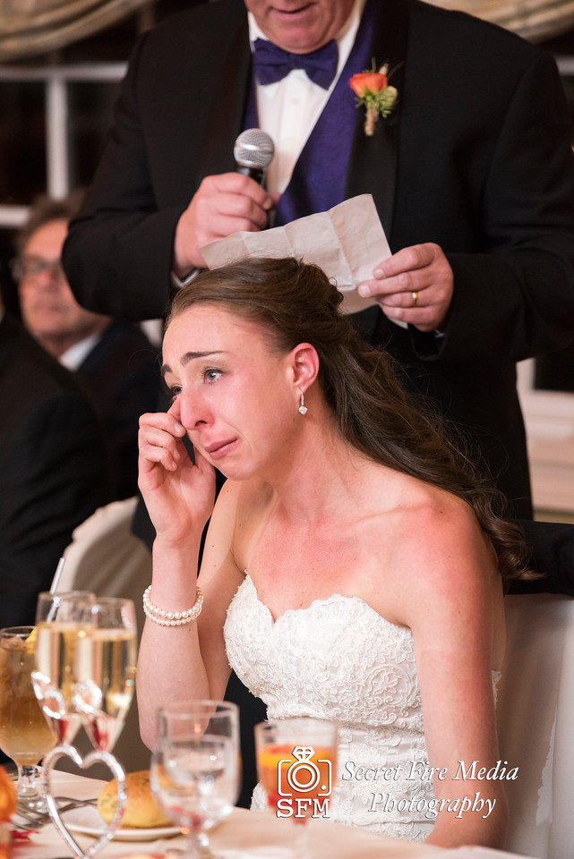 Bride tears during toasts Hudson Valley Wedding At Links At Union Vale in New York
