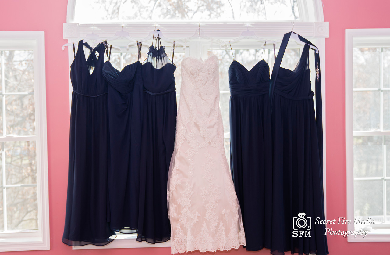 Bride and Bridesmaids Dresses before her Hudson Valley Wedding At Links At Union Vale in New York