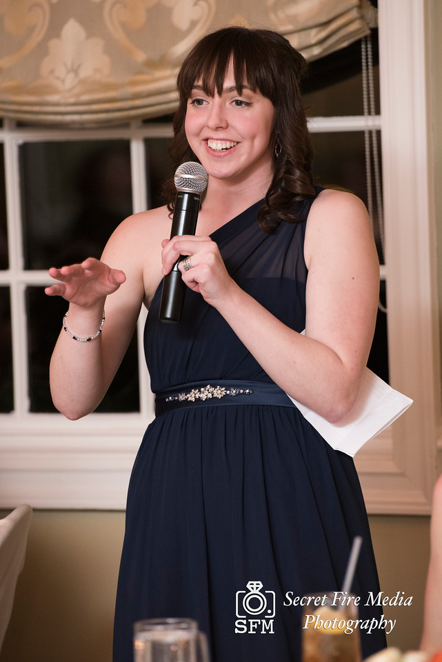 Maid of Honor during toasts Hudson Valley Wedding At Links At Union Vale in New York
