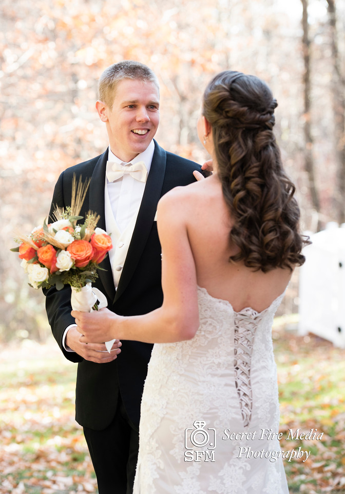 Bride and Grooms first look before her Hudson Valley Wedding At Links At Union Vale in New York