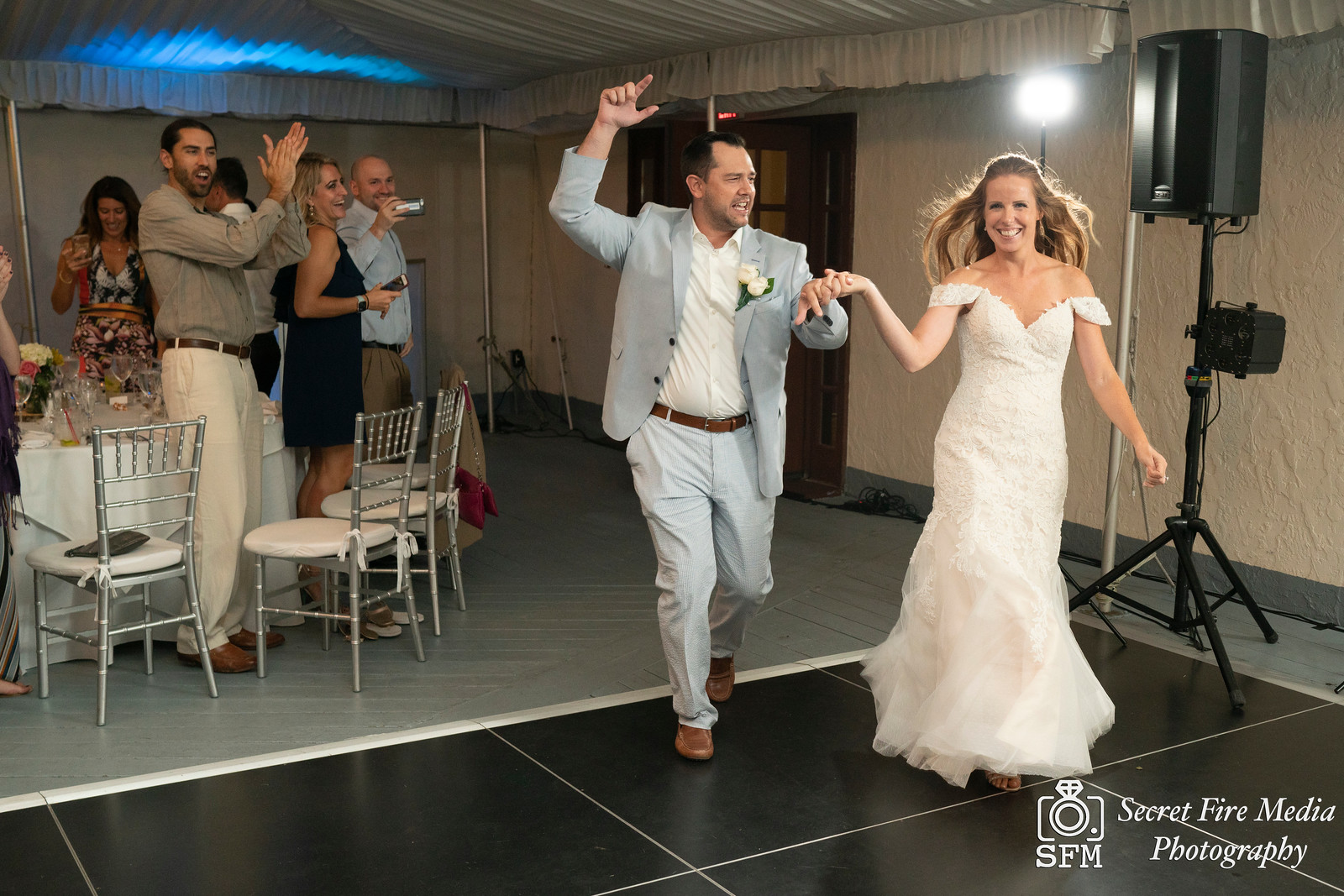 Bride and grooms intro  at a Hudson Valley Wedding At Mamaroneck Beach and Yatch Club