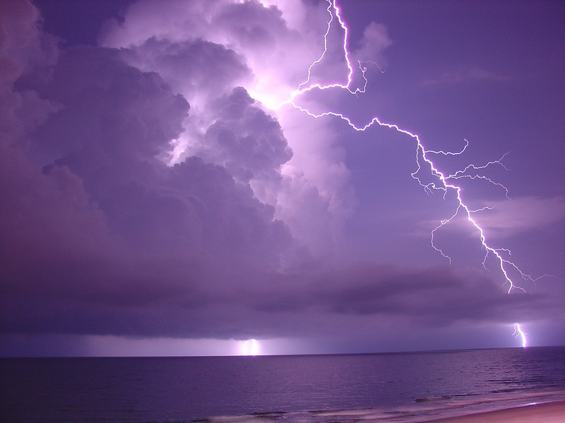 This lightning shot was taken July 14, 2005 in Myrtle Beach, SC. I was shooting this thunderstorm for over 4 hours and finally had a keeper.