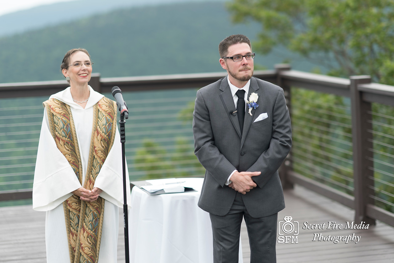 Grooms first look at a Hudson Valley Wedding At Hunter Mountain in Hunter New York