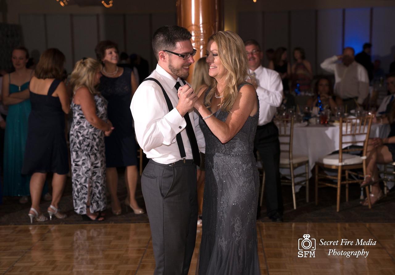 Groom dancing with his mother during the reception at a Hudson Valley Wedding At Hunter Mountain in Hunter New York