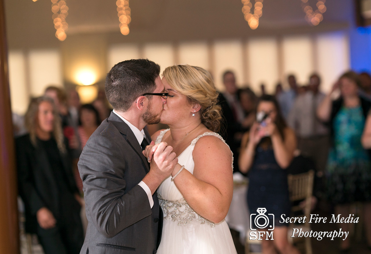 Bride and Groom kiss during their first dance at a Hudson Valley Wedding At Hunter Mountain in Hunter New York