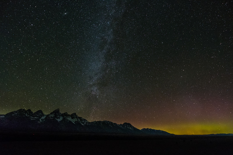 Milky Way and Northern Lights over Tetons