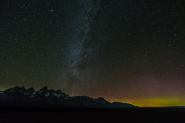 Milky Way and Northern Lights over Tetons