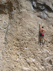 Climbing on Gorilla Wall 2007. Malibu Creek State Park, California.