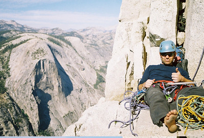 Hanging out on Big Sandy Ledge 2009. Regular Northwest Route - Face of Half Dome Yosemite National Park, California Climbing Partner: Paul Wignall. Time: 17hrs. We got stuck behind a team who had been on the wall for three days.