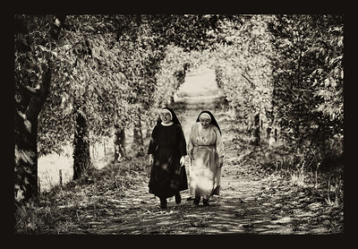 Mother Seraphine and Mother Angela out for a walk.