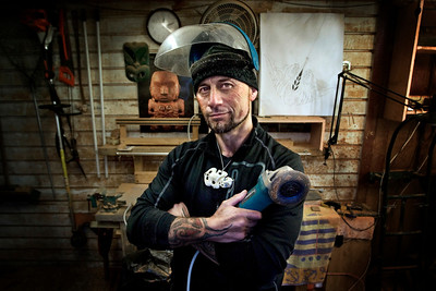 Rotorua based Sculptor and Artist Roi Toia at his workshop.