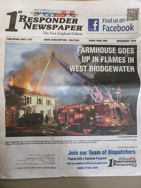 1st Responder Magazine November 2020 Cover by CFPA Massachusetts Member Pat Travers