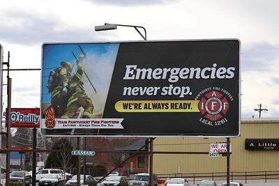 Billboard for Pawtucket Firefighters by Ken LaBelle
