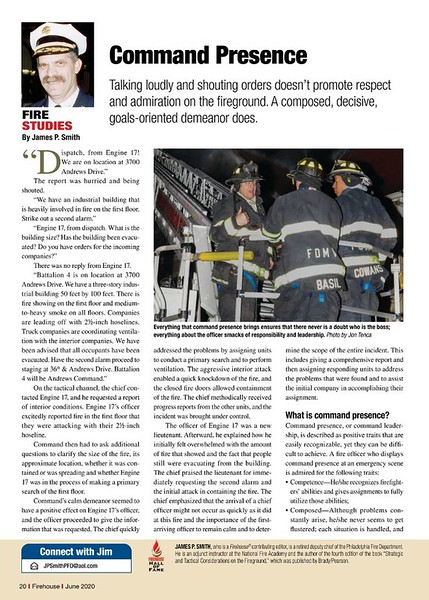 Firehouse Magazine June 2020 Fire Studies Feature by CFPA Connecticut Member Jon Tenca