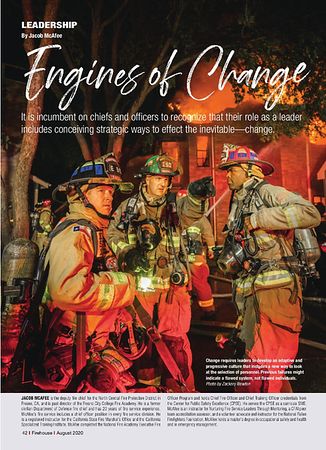 Firehouse Magazine August 2020 Leadership Feature by CFPA Texas Member Zack Newton