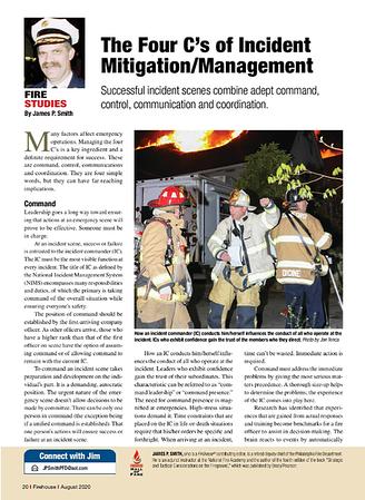 Firehouse Magazine August 2020 Fire Studies Feature by CFPA Connecticut Member Jon Tenca