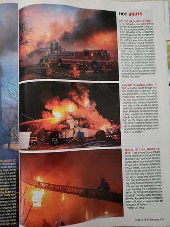 Firehouse Magazine May 2019 Hot SHots by CFPA Rhode Island Member Ken LaBelle and Connecticut Member Jon Tenca