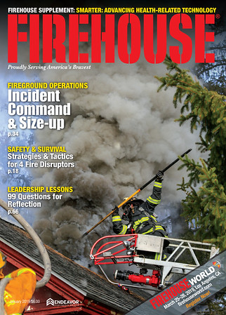 Firehouse Magazine January 2019 Cover by CFPA Rhode Island Member Ken LaBelle
