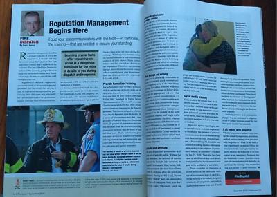 Firehouse Magazine December 2019 Fire Dispatch Feature by CFPA Connecticut Member Jon Tenca