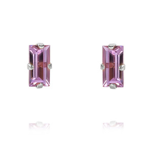 Baguette Earrings / Violet Rhodium